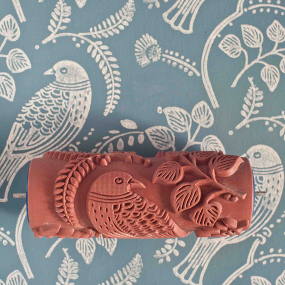 This embossed roller paints a repeat pattern in one smooth for Embossed paint roller