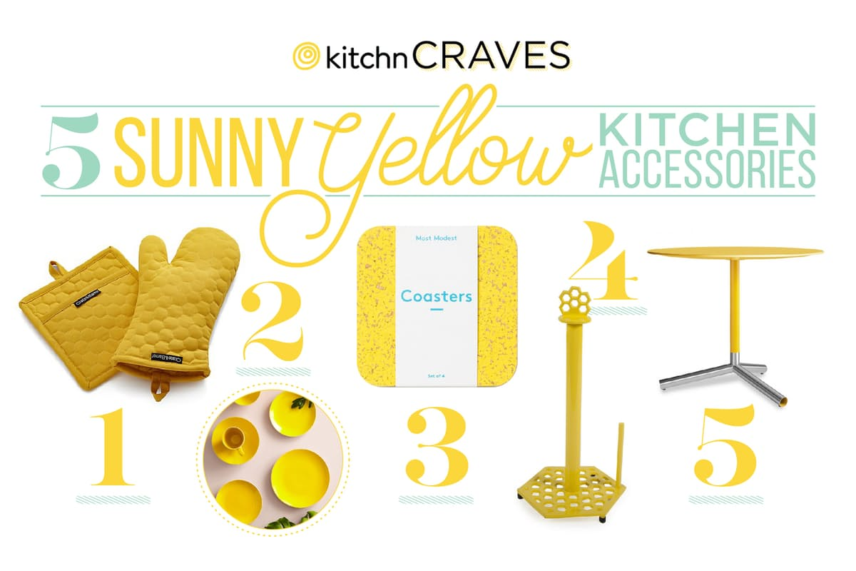 sunny yellow kitchen accessories