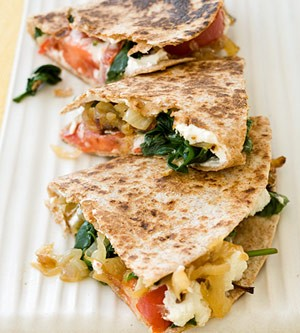Feta-caramelized-onion-and-spinach-quesadilla