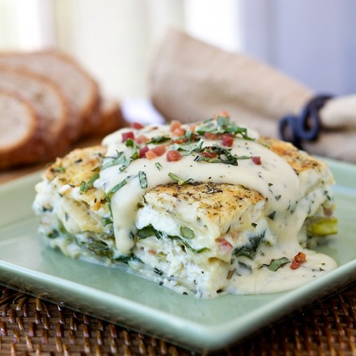 Six-cheese-lasagna-with-pancetta-asparagus-and-spinach-in-a-summer-basil-cream-sauce-500x500