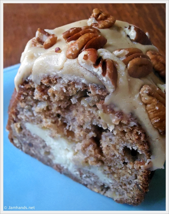 Apple & Cream Cheese Bundt Cake with Caramel Pecan Frosting ...