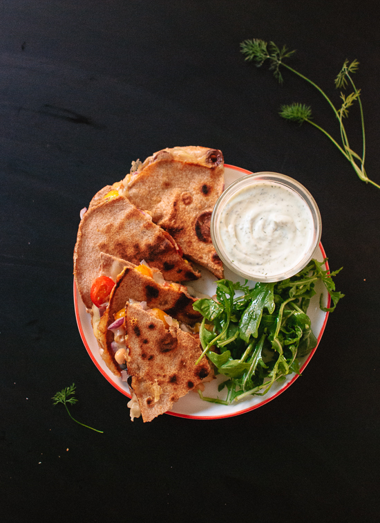 Tomato-olive-and-chickpea-quesadilla-with-dill-yogurt-dip
