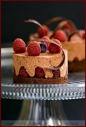 Dark-chocolate-raspberry-cake-and-its-chocolate-ginger-mousse-340x500