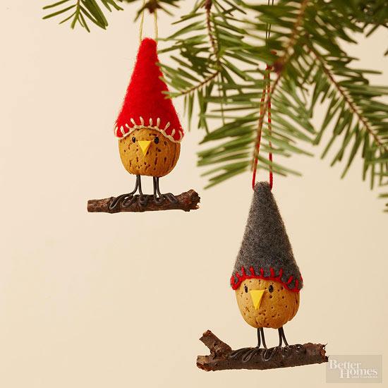 make an almond bird christmas ornament - Bird Christmas Ornaments