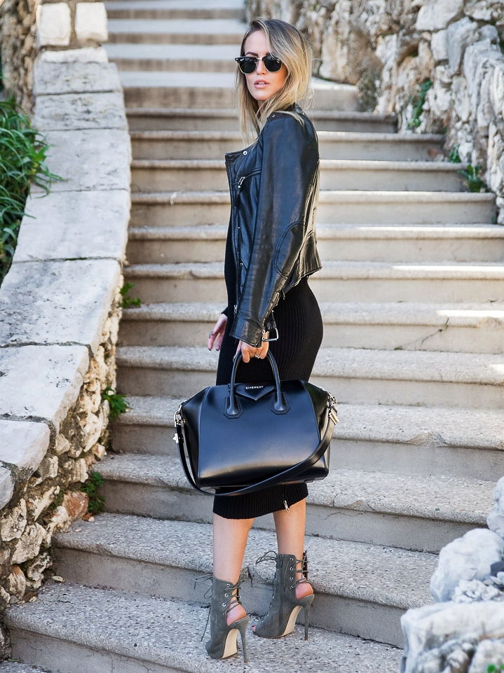 1.-dress-with-leather-jacket-and-black-bag