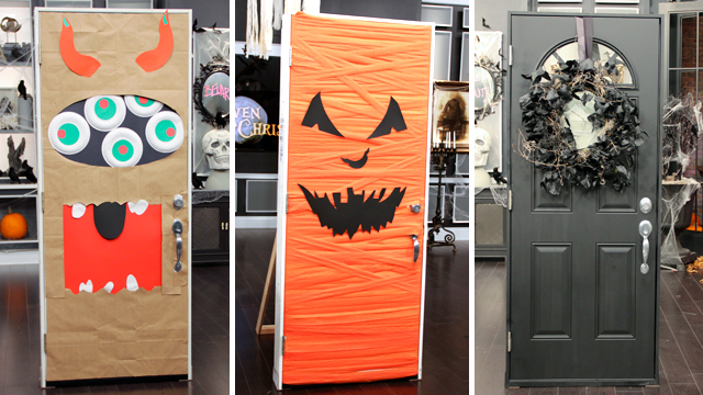 Five Eyed Monster Door Scary Pumpkin Door Spooky Mirror Door & Halloween Inspiration: Silly Monster and Ghost Doors and more ...